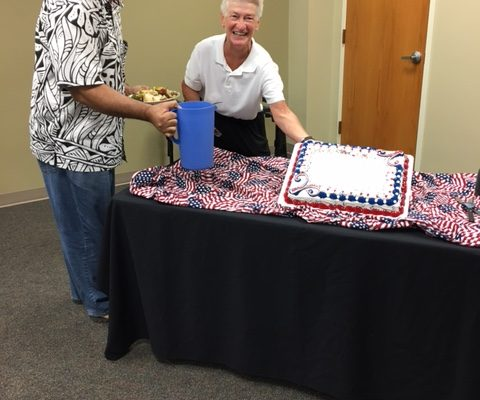 the Saint Paul community celebrated Constitution and Citizenship Day with a red, white, and blue resurrection cake.