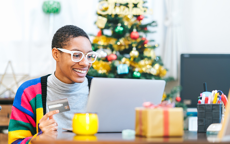 Woman buying holiday presents online